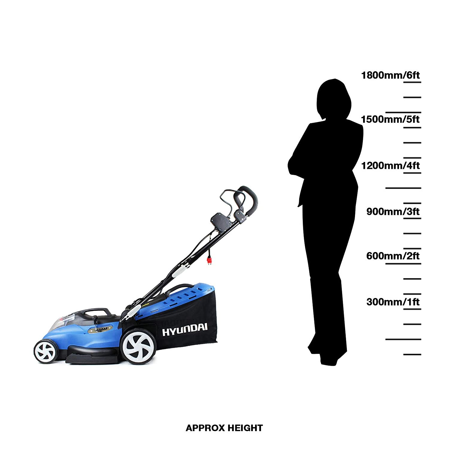 Blue Hyundai Cordless Battery Powered Lawn Mower Cutting Width 42cm with 60V Lithium Ion Battery /& Charger HYM60LI420