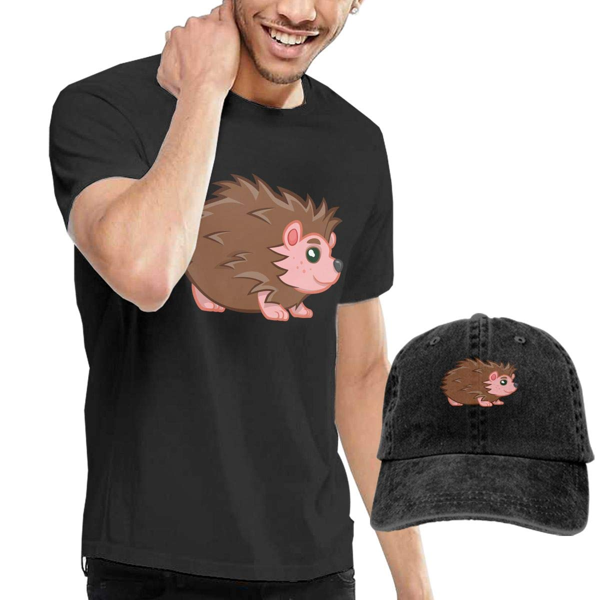 QqZXD Cartoon Hedgehog Fashion Mens T-Shirt and Hats Youth /& Adult T-Shirts