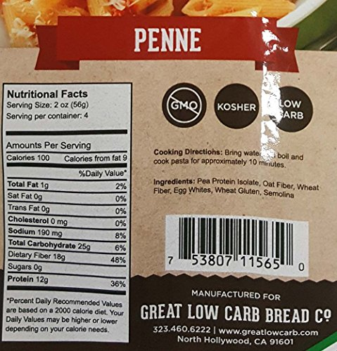 Low Carb Pasta, Keto Pasta, Great Low Carb Bread Company ,7g Net Carbs, 12g of Protein, Non GMO, (Penne, 3 Pack) 3