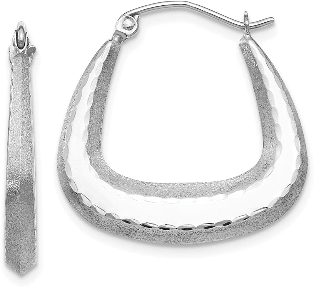 14kt White Gold Polished; Satin and Diamond-cut Hoop Earrings