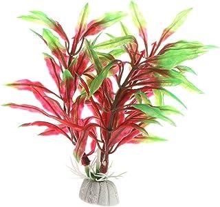 Kofun acquario decorazione plastica artificiale subacquea erba piante decorazione Black Red