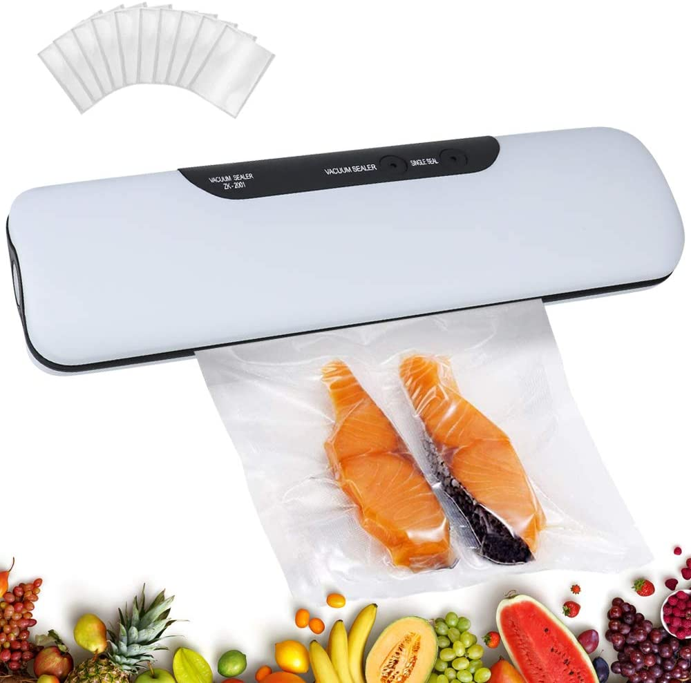 Vacuum Sealer Machine,60 Kpa One-Touch Food Preservation Sealing Machine,Automatic Vacuum Sealing System,with Inclued 10 Vacuum Food Pockets (White)