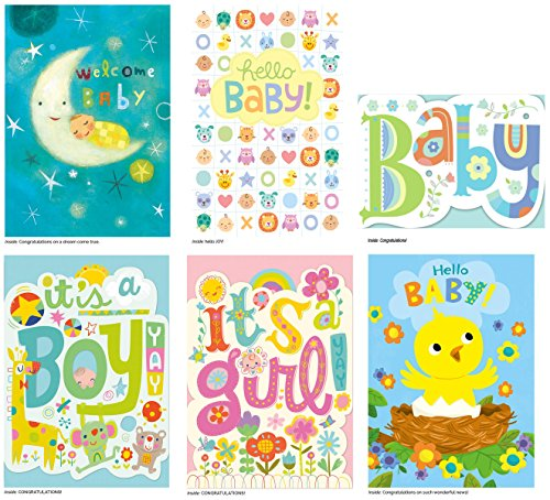 Peaceable Kingdom Congratulations Cards for New Babies - Box of 12 Cards and Envelopes (Congratulations Baby Gifts)
