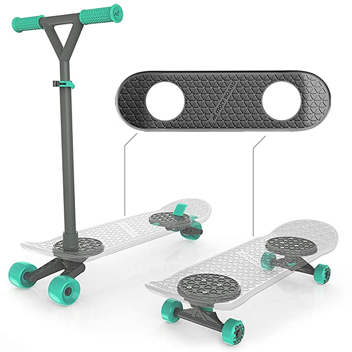 MORFBOARD Skate & Scoot Combo, 2-in-1 Kick Scooter for Kids with 3-Position Adjustable Height and Extra Wide Skateboard Deck, For Boys or Girls 8 Years and Up, Supports 150 lbs - Mint