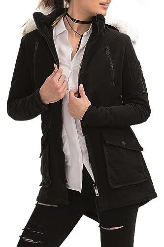 trueprodigy Casual Mujer marca Chaqueta Parka militar ropa retro vintage rock vestir moda con capuch...