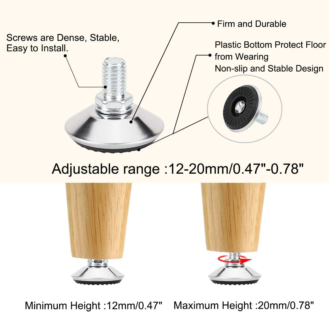 uxcell M10 x 15 x 40mm Leveling Feet Adjustable Leveler Floor Protector for House Furniture Desk Table Chair Leg 8 Pack