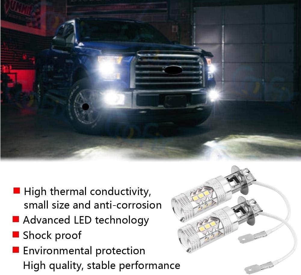 Gorgeri 2 pcs Car High Power Bright LED Fog Daytime Light Bulbs H1 H3 12V-24V 80W Car Driving Fog Lights