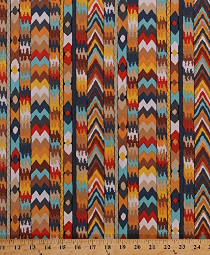 Cotton Tribal Southwestern Southwest Stripes Chevrons Designs African Africa Bukhara Cotton Fabric Print by The Yard ()