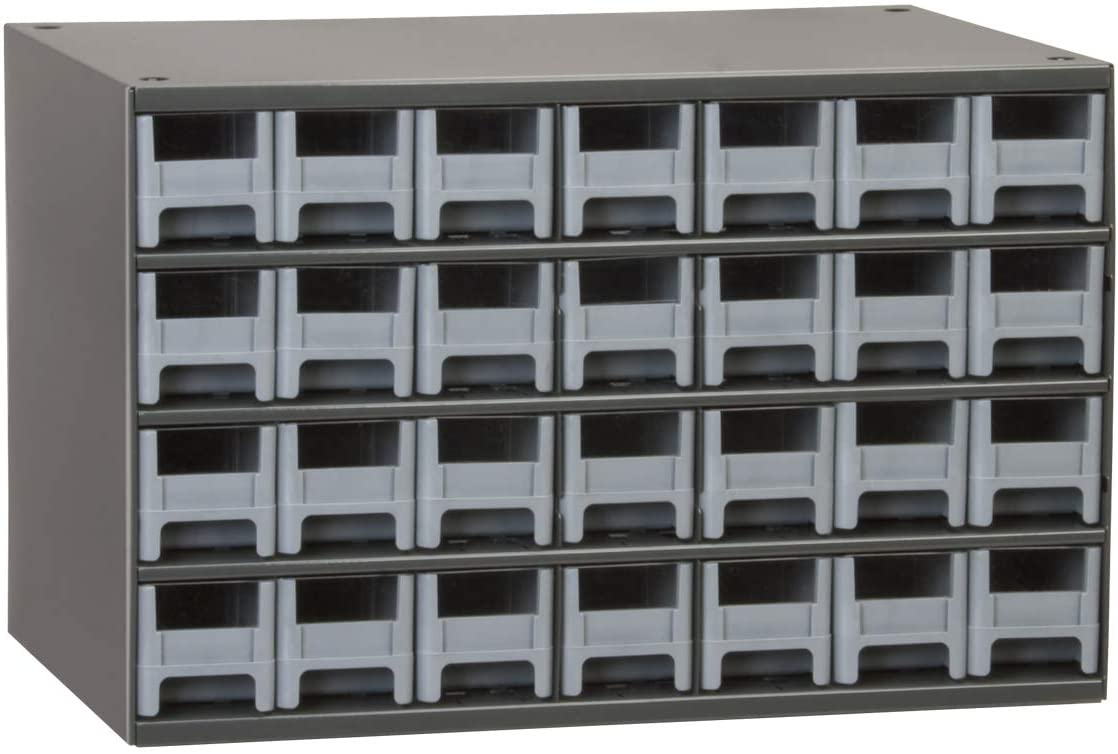 Akro-Mils 28 Steel Parts Craft Storage Hardware Organizer, 17 W D x 11-Inch H , Gray Cabinet, Drawers, Inch W by 11-Inch H by 11-Inch D