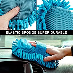 Car Wash Cleaning Mitt and Sponge Cleaner. Coolfire 2 pack Premium Chenille Microfiber Washing Mitt and Sponge For Vehicle Car Windowshield Glass and More - Lint Free - Scratch Free