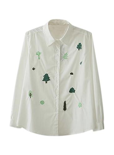 Azbro Mujer Camisa Causal Bordado Árbol con Botones