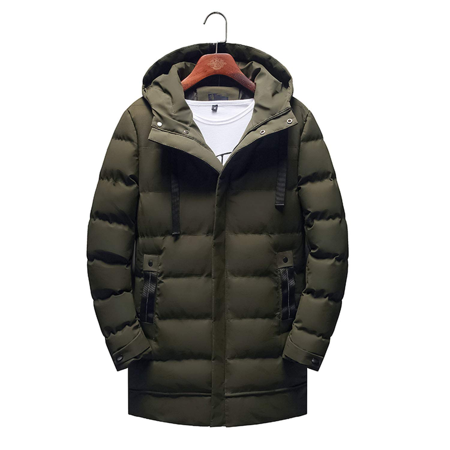 d9b018e38 Love & Freedome Winter Hooded Parka Men Slim fit Thick Warm Coat Men's  Padded Parka Coat Male Solid Color Long at Amazon Men's Clothing store: