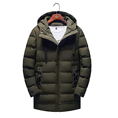 303a91c3e Love & Freedome Winter Hooded Parka Men Slim fit Thick Warm Coat Men's  Padded Parka Coat