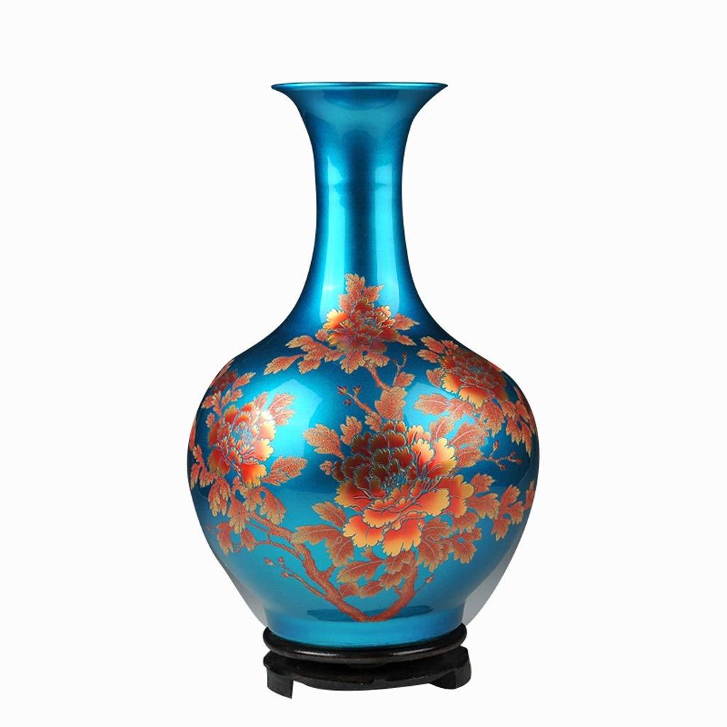 花瓶セラミックフラワーアレンジメント現代中国の家のリビングルームのテレビキャビネット装飾デコレーション HUXIUPING (Color : Blue) B07T1WF99F Blue