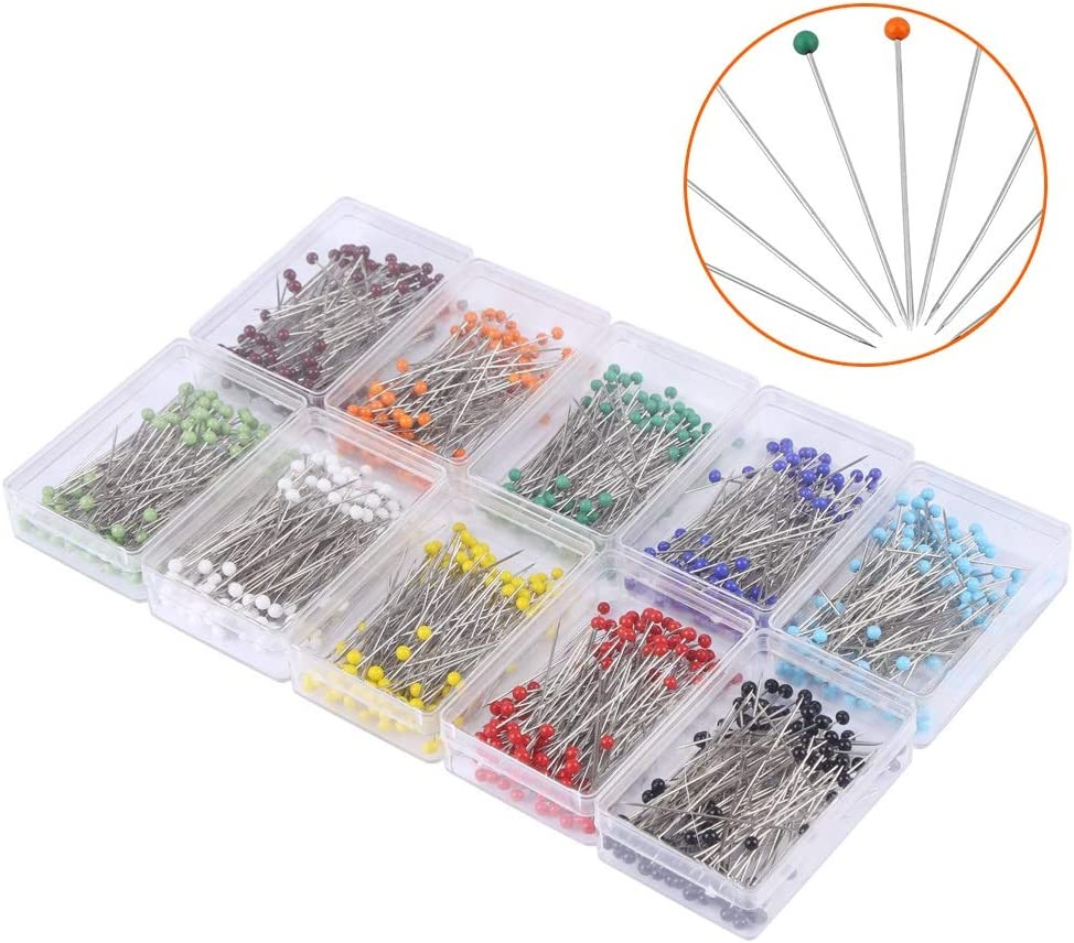 Delaman 1000pcs Sewing Pins Wedding,Christmas 10Colors Straight Glass Ball Head Quilting Pins Drawing Pin with Transparent Box for Dressmaking,Jewelry DIY