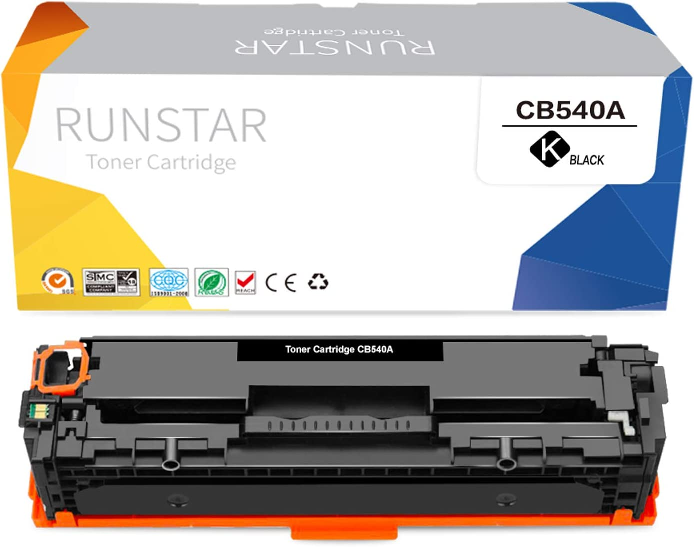 Run Star Compatible 125A Black Toner Cartridge Replacement for HP 125A CB540A Work for HP Color Laserjet MFP CP1215 CP1518ni CP1515n CM1312nfi CM1312 Printer, 1 Black