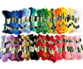 Tinksky 100 Skeins of 8M Multi-color Soft Cotton Cross Stitch Embroidery Threads Floss Sewing Threads (Random Color) by Tinksky