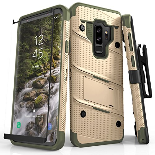 Zizo Bolt Series Compatible with Samsung Galaxy S9 Plus Case Military Grade Drop Tested with Tempered Glass Screen Protector Holster TAN CAMO Green