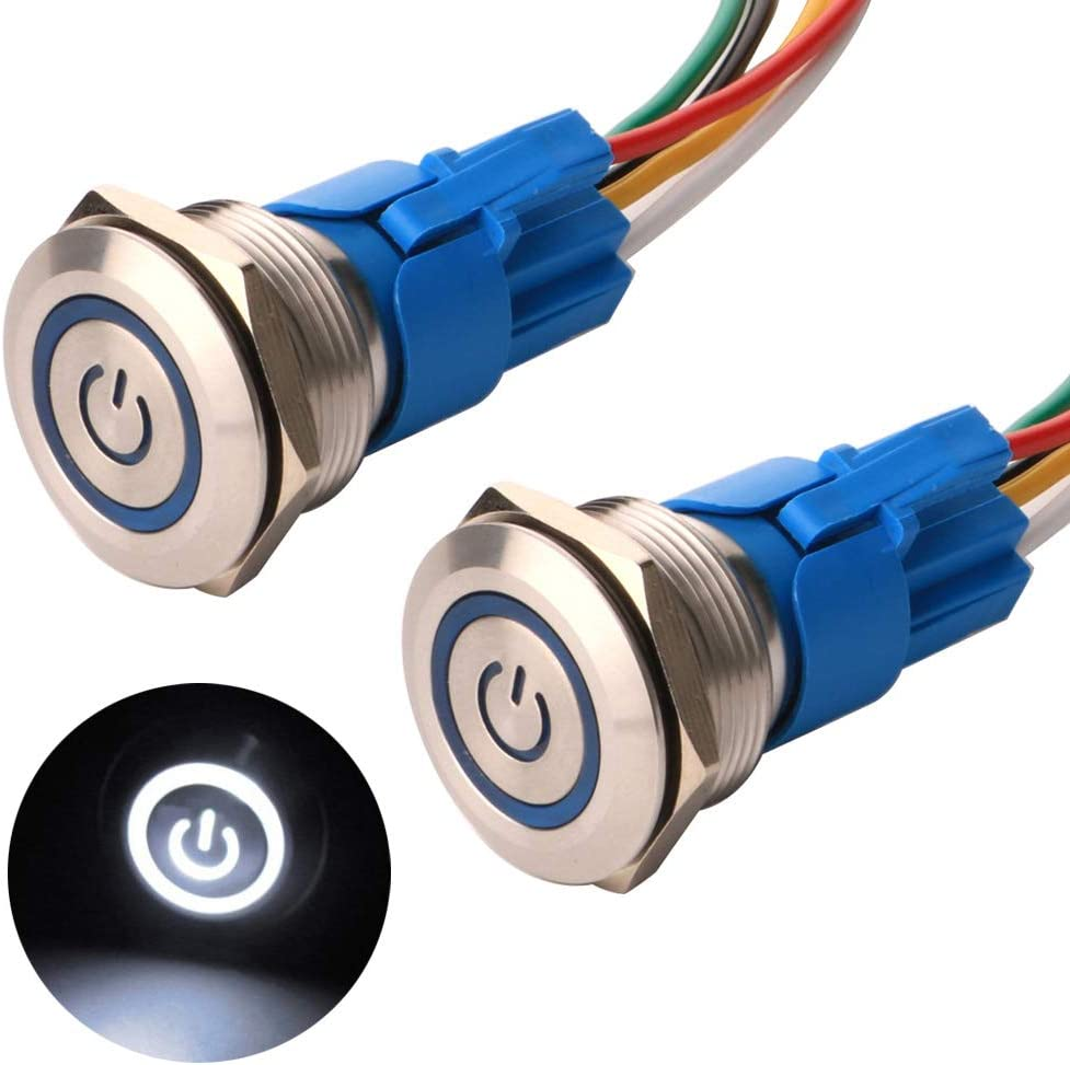 Gebildet 2 Piezas 22mm Enclavamiento Pulsador de Botón Metálico Interruptores Acero Inoxidable Impermeable Plana Top ON/Off 12V-24V 5A Pulsador con Enchufe de Cable(LED Blanco)