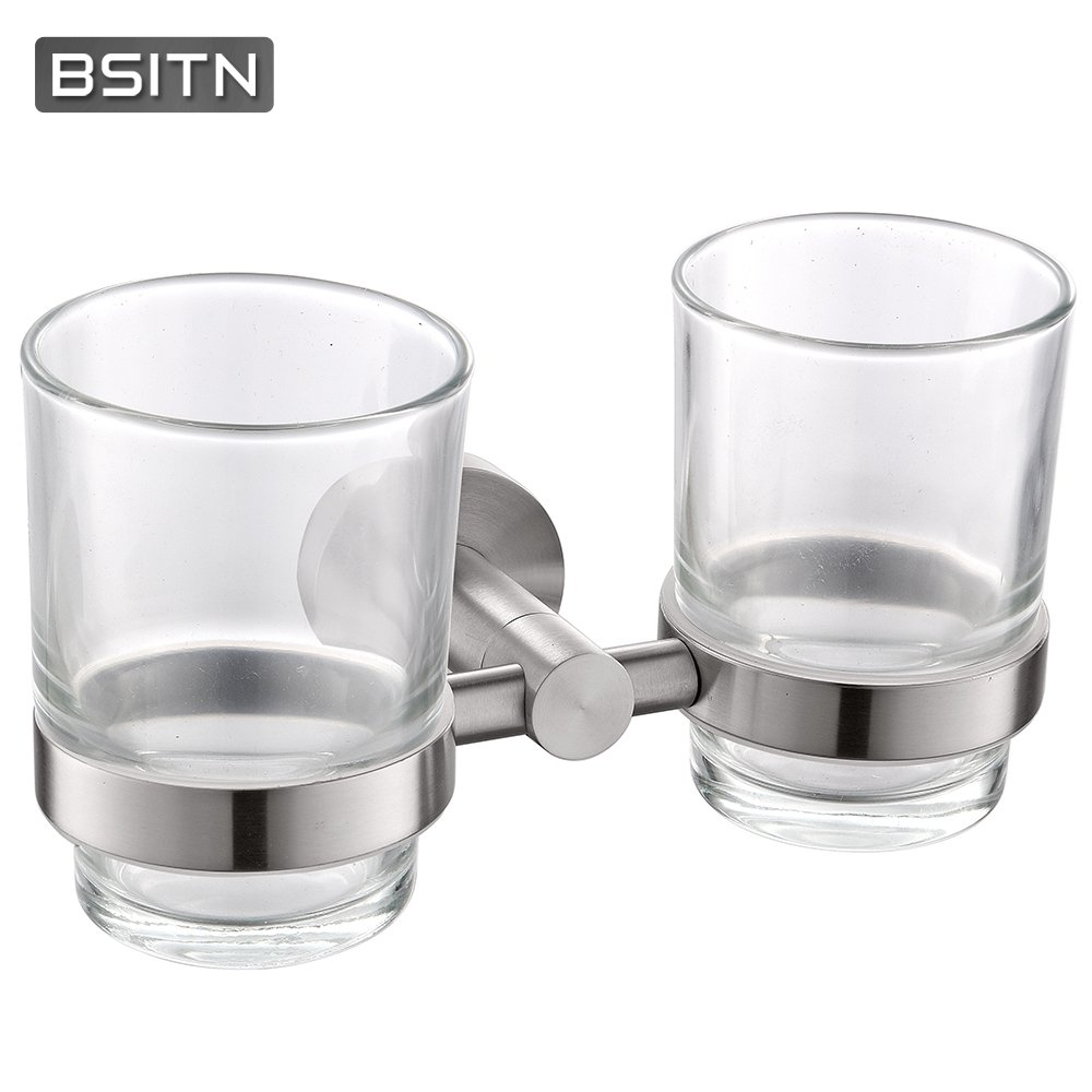 BSITN Toothbrush Tumbler Holder Stainless Steel, Double Cup,Wall-Mounted Bathroom Tooth Brush Toothpaste Holder Cup