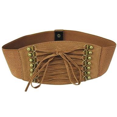 4cf16a2182 bismarckbeer Women s Elastic Waist Belt Wide Cinch Belt Lace Up Corset  Dress Waistband  Amazon.co.uk  Clothing