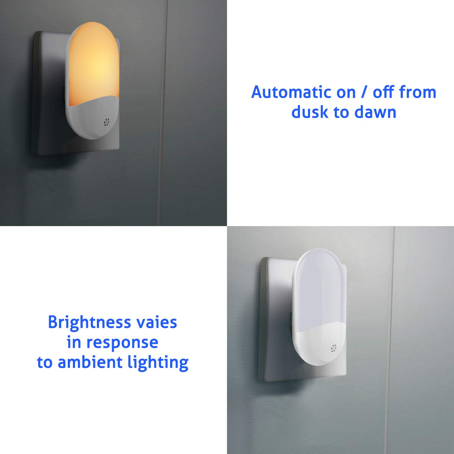 Epicgadget Plug in Night Activated Night Light for Bathroom Kitchen and Stairs LED Light Sensor Night Light Bedroom 2 Pack Warm White Hallway