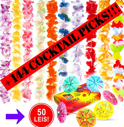 Premium Hawaiian Leis (50 Pack) Bulk Necklaces Set for Kids and Adults for Luau Party Supplies with Bonus 144 Umbrella Cocktail Picks