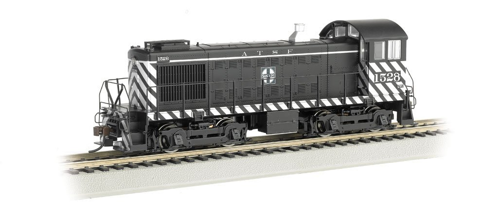 Bachmann Industries Alco S4 Diesel Switcher Dcc Equipped Locomotive ATSF #1528 (Zebra Stripe) N Scale Train Car
