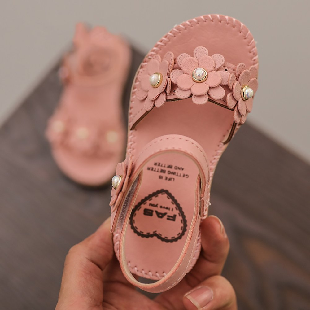 UBELLA Toddler Girls Flower Open Toe Sandals Princess Flat Shoes