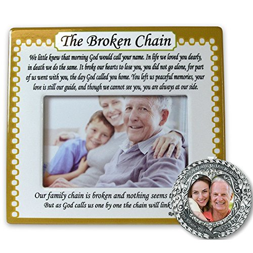 Memorial Frame and Ornament Set - The Broken Chain Poem - 4 x 6 Picture Frame and Memorial Photo Ornament with The Broken Chain Poem (Gift For Someone Dying)