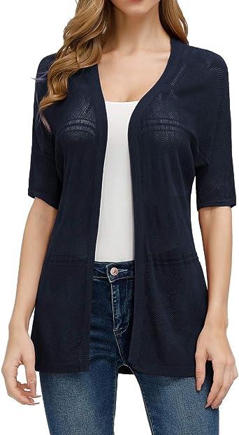 CURLBIUTY Women's Casual Summer Short Sleeve Sheer Open Front Cardigan Sweater