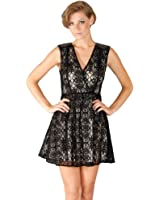 Flying Tomato Women's Vintage Sheer Lace Tea Party Cocktail Dress