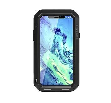 26e60de8ef iphone X ケース 軍用 耐衝撃 防水 防塵 金属/メタル 強化ガラス内蔵 タフケース LOVE