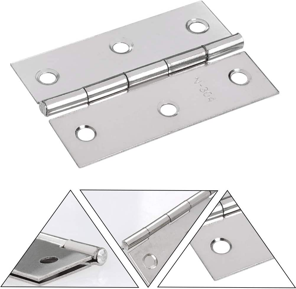2 x 3 inch Stainless Steel Square Butt Hinges for Home Furniture Hardware Closet Door with Enough Screw FOCCTS 18 Pack Folding Door Hinges