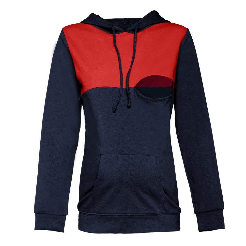 SANFAHSION Sweatshirt Maternit/é Blouse Couture Tops Allaitement Hiver Encapuchonn/é Chemise Manche Longue Col Rond Sweat Poche Haut Casual Hiver