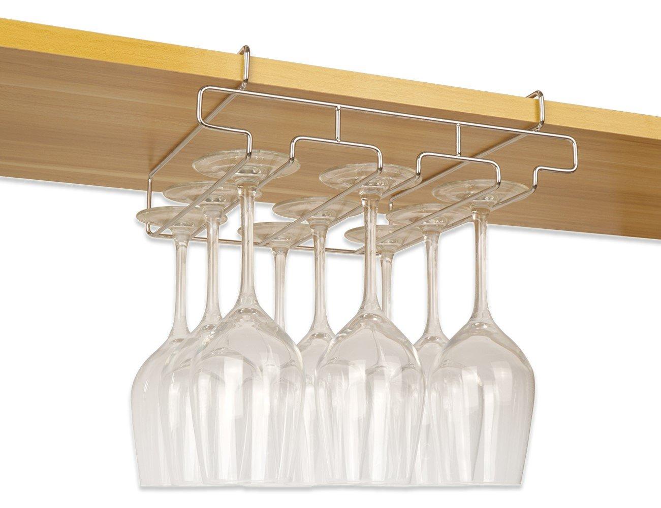 "Bafvt Wine Glass Holder - 3 Rows Stemware Rack Under Cabinet - 304 Stainless Steel Hanger Storage Shelf, Fit for The Cabinet 0.9"" or Less"