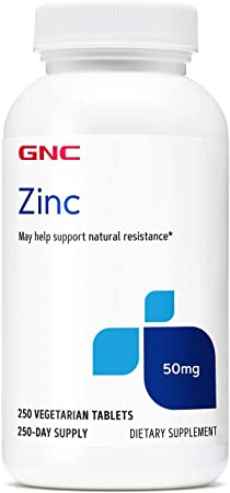 GNC Zinc 50mg, 250 Tablets, Supports Natural Resistance in Immune System