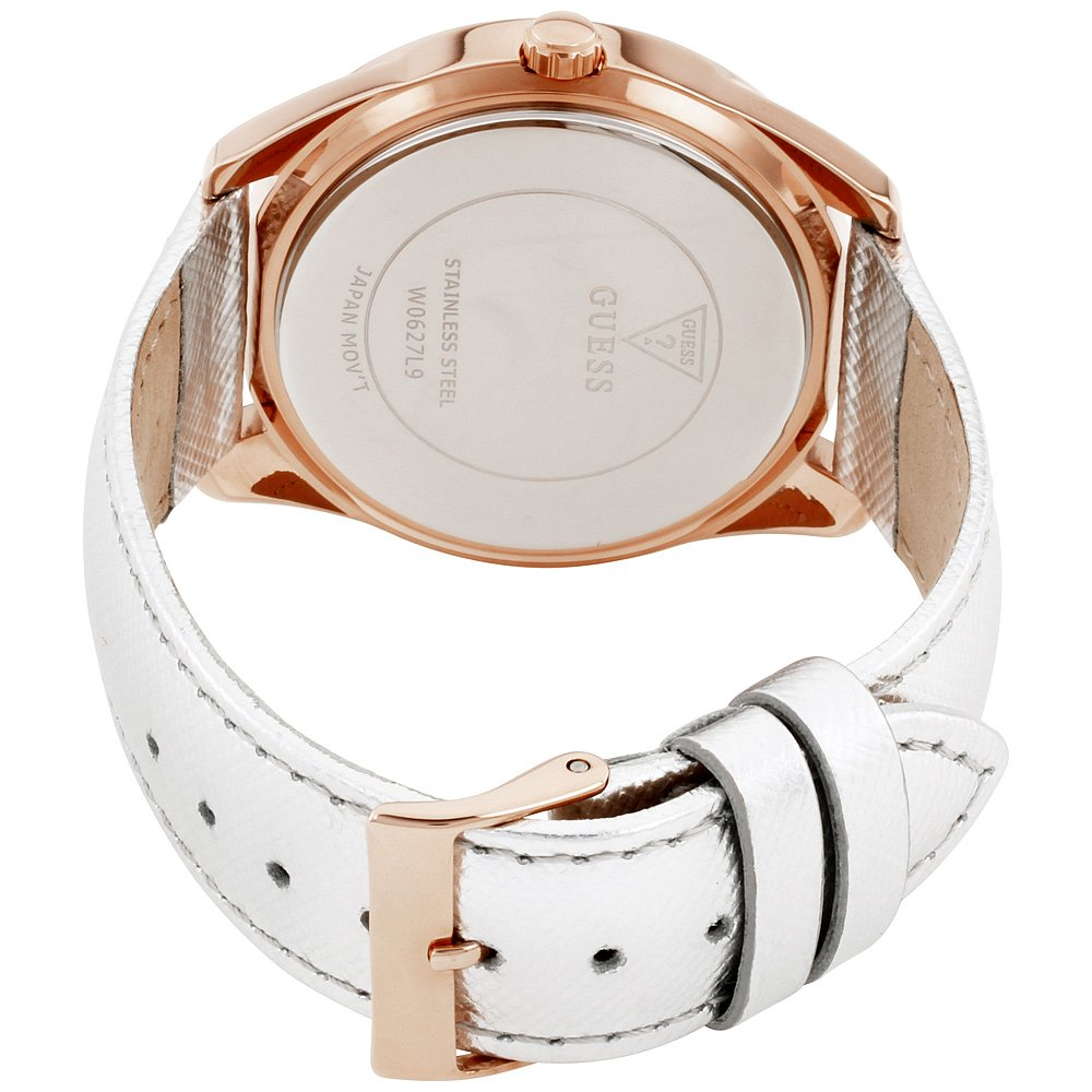 Amazon.com: Guess G Twist Silver Dial Leather Strap Ladies Watch W0627L9: Guess: Watches