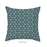 VROSELV Custom Cotton Linen Pillowcase Arabian Decor Collection Arabesque Persian Geometric Complex Lines and Floral Patterns in Retro Style Culture Art Print Bedroom Living Room Dorm Blue 28''x28''