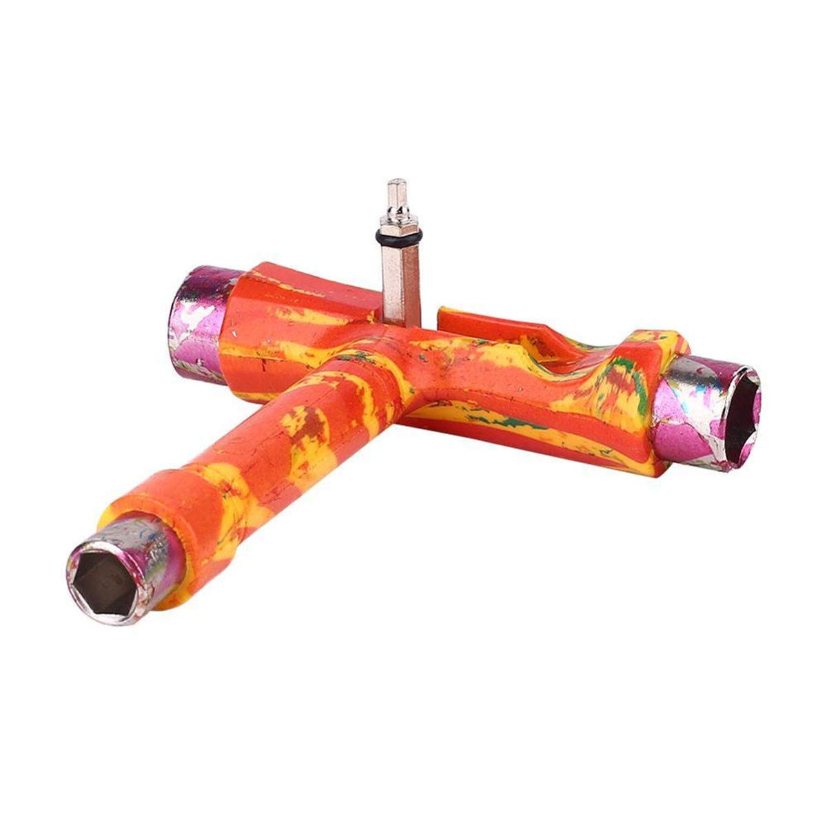 Cozylkx Multi-Function Skateboards T-Tool Kit Portable Skate Tool Accessory Allen and Philips Key, Yellow TM