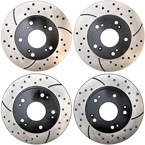 Prime Choice Auto Parts BRKPKG039458 Front+Rear Silver Drilled Slotted Brake Rotors /& Ceramic Pads