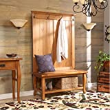 Three Posts Traditional Antique Pine Cortland Hall Tree with Storage Shelve and Coat Hooks