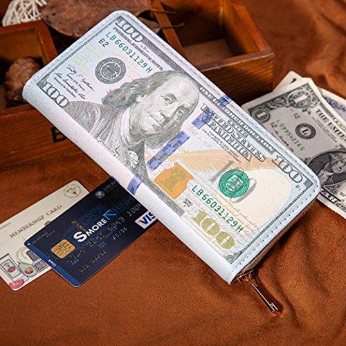 Holder Card Bifold Women Black Business Pockets Leather Hunpta zipper ID Wallet Men Credit Green 8zEqxwf