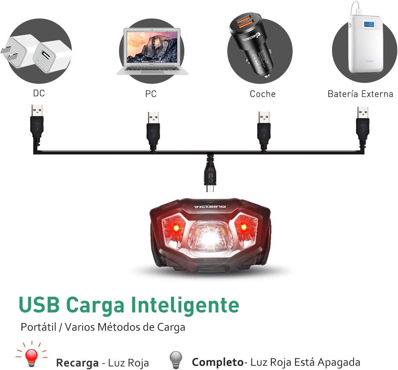 VicTsing Linterna Frontal LED Recargable con 50H de Autonomía ...