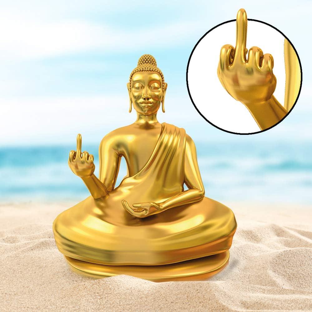 Statua dorata di buddha offensivo con dito medio alzato, accessori zen insoliti, statuetta divertente M-10038