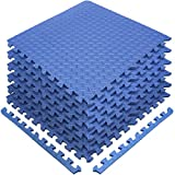 Sivan Health and Fitness Puzzle Exercise Mat EVA Foam Interlocking Tiles-Protective Flooring for Gym, Garage Flooring, Playroom, Workshop, Basement, and More (Blue)