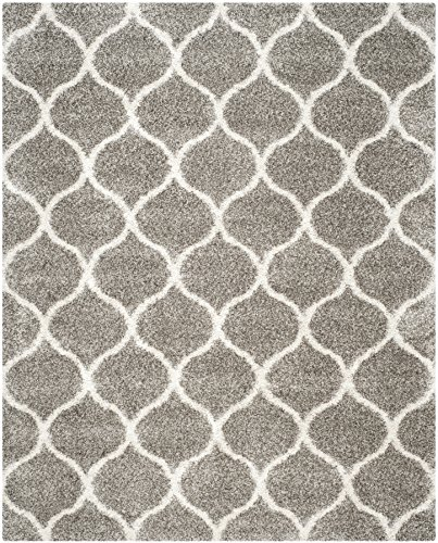Safavieh Hudson Shag Collection SGH280B Grey and Ivory Moroccan Ogee Plush Area Rug (8' x 10') from Safavieh