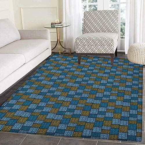 Vintage Rugs for Bedroom Abstract Design Oriental Geometric Grid Style Squares and Rectangles Circle Rugs for Living Room 3'x5' Blue Caramel Pale Blue