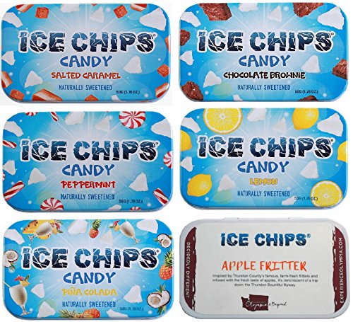 ICE CHIPS Xylitol Candy 6 Tins (Fun Pack); Low Carb, Gluten Free
