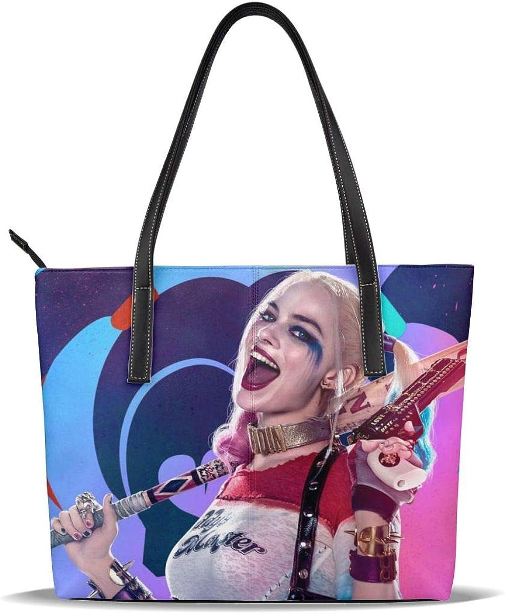 Ha-Rley Qui-Nn Microfiber Leather Zipper Large Tote Shoulder Handbag Satchel Bag Hobo Purse